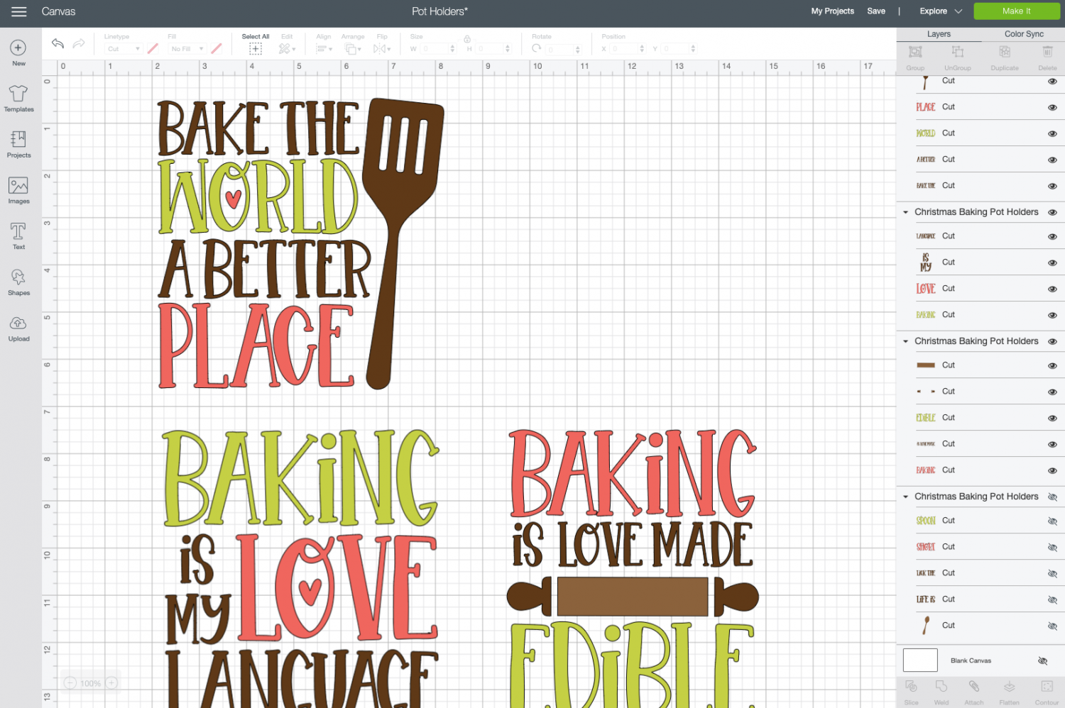 "Cricut Design Space: ""Lick the Spoon"" file hidden on canvas"