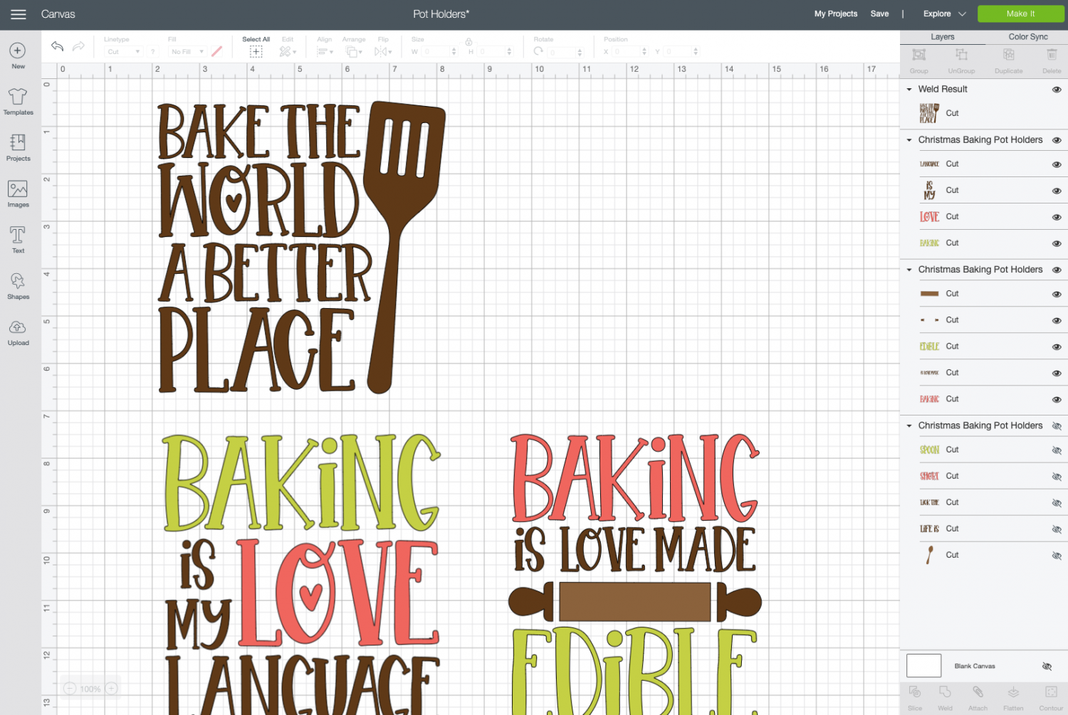 Cricut Design Space: Bake the World a Better Place image welded