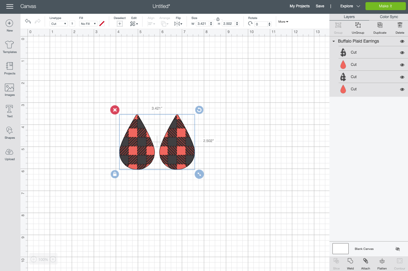 Cricut Design Space: Upload the earrings file