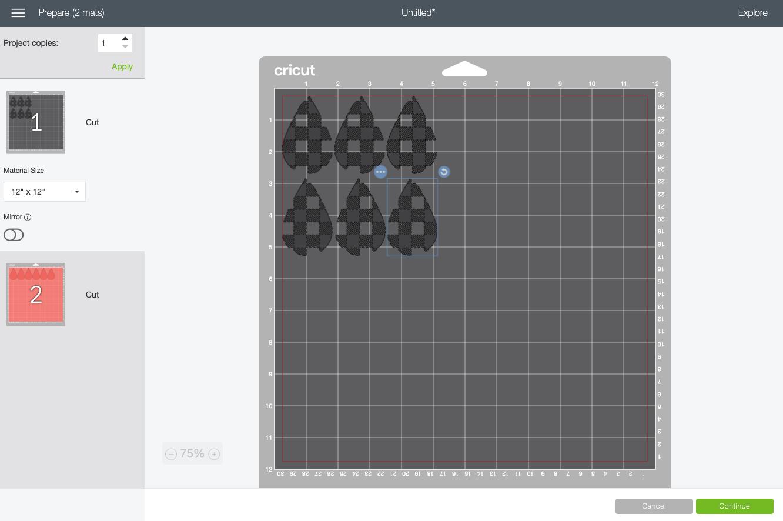 Cricut Design Space: Prepare Screen with two mats.