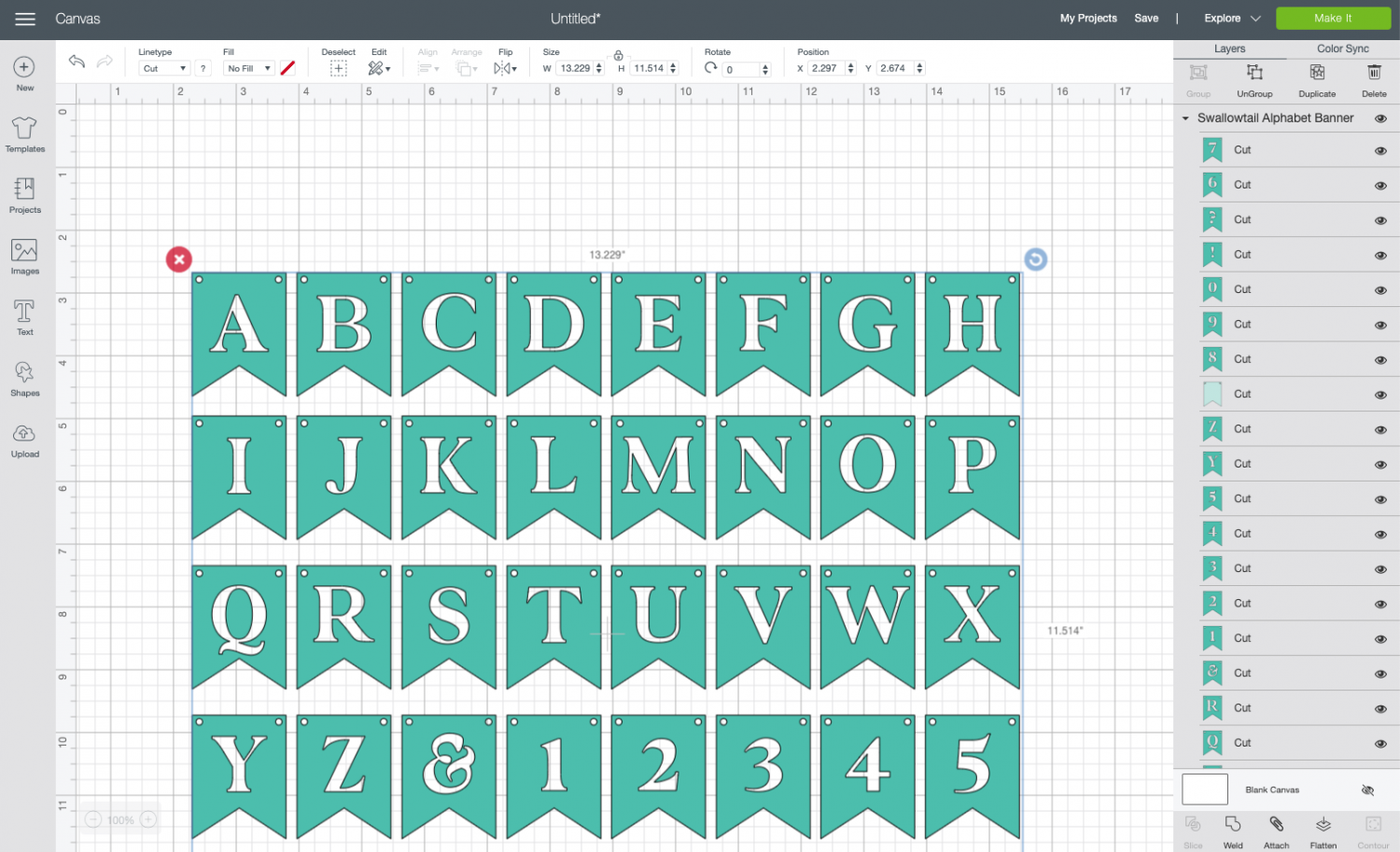 Cricut Design Space: Uploaded banner file