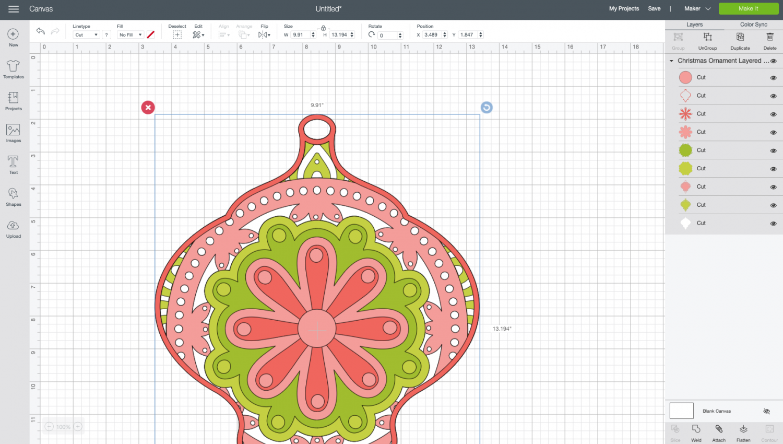 Cricut Design Space: Uploaded ornament file