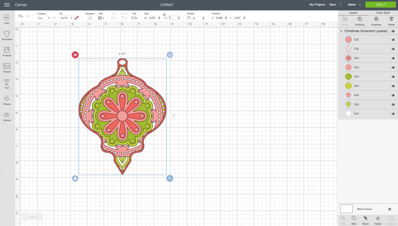Cricut Design Space: resized ornament file