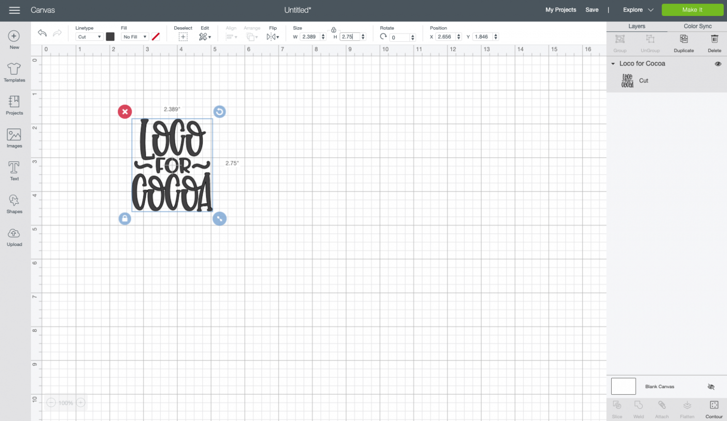 Cricut Design Space: resize the image to fit your mug