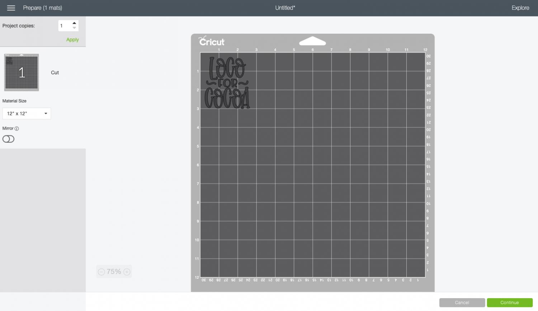 Cricut Design Space: Prepare screen with image on mat