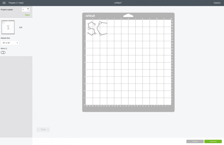Cricut Design Space: S and C on Cricut cutting mat in Prepare Screen