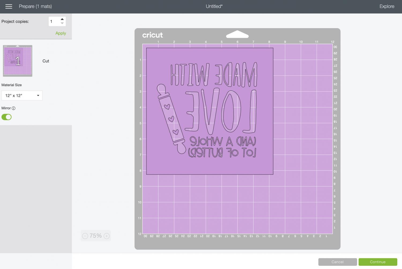 Cricut Design Space: imaged mirrored on mat in Prepare Screen