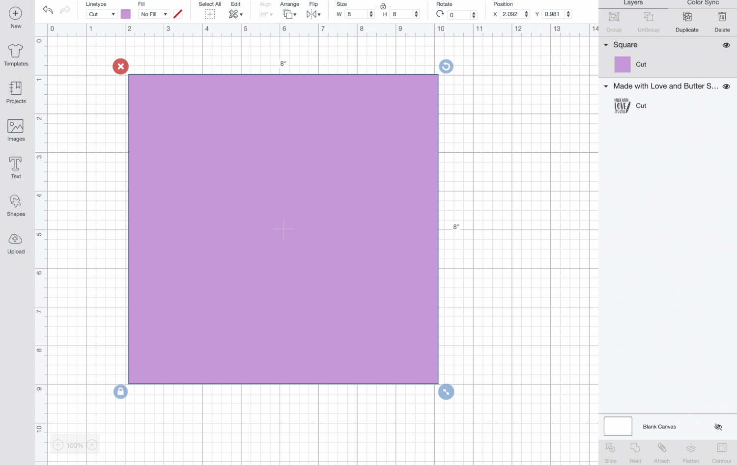 Cricut Design Space: square resized and made purple