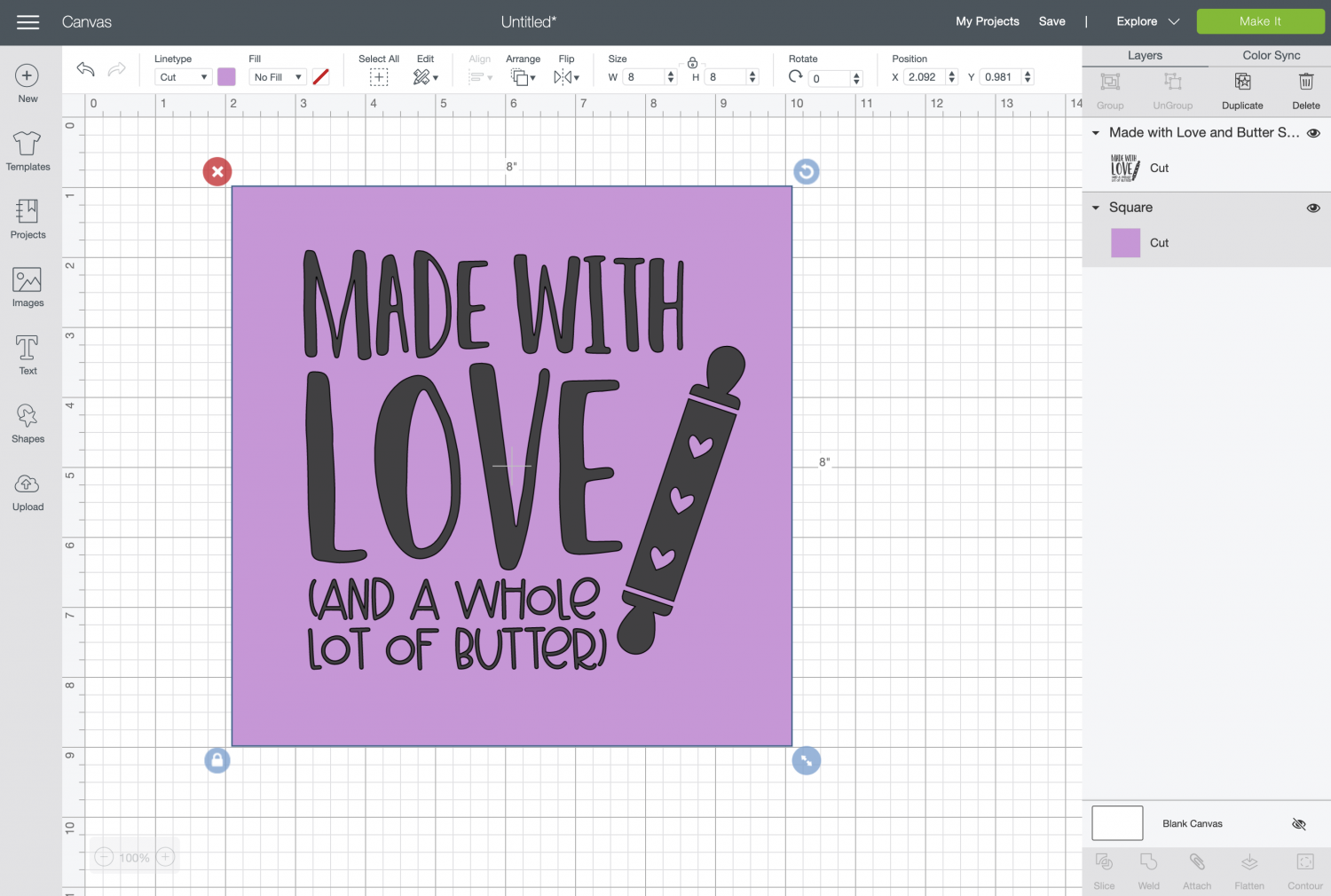 Cricut Design Space: Image and square together.