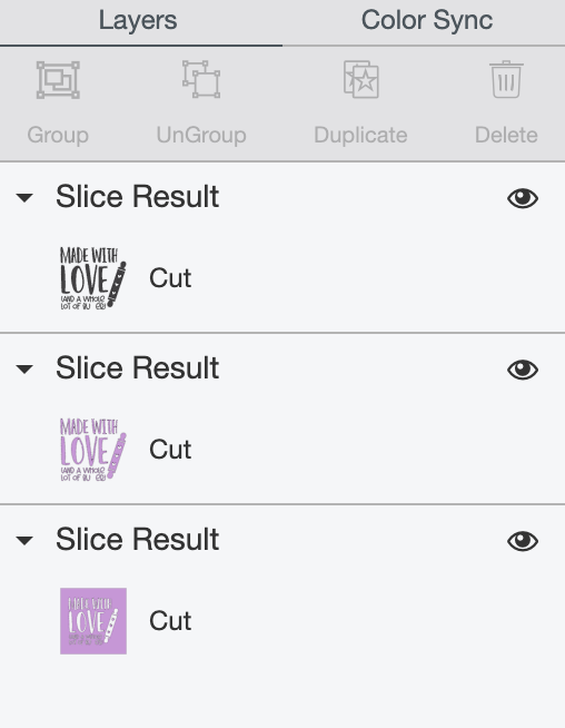 Cricut Design Space: slice result in Layers Panel.