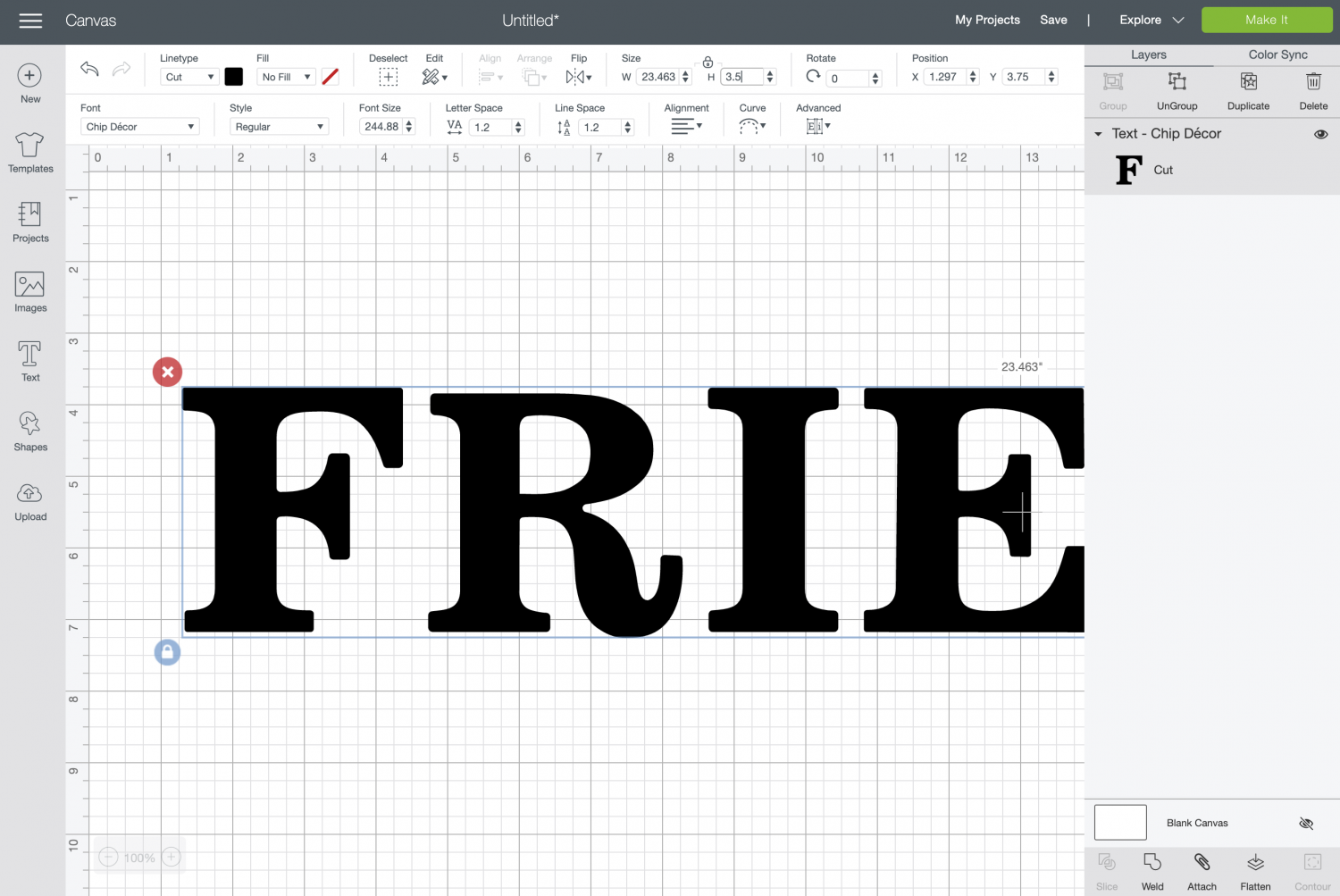 Cricut Design Space: resize the word