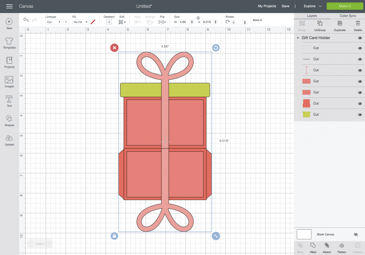 Cricut Design Space: Uploaded gift card holder file