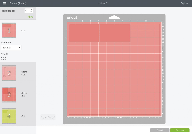 Cricut Design Space: Prepare Screen with cutting mats