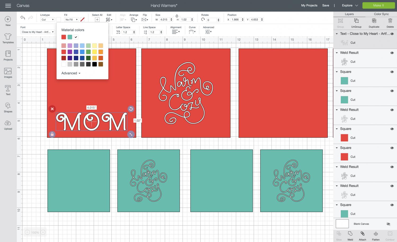 Cricut Design Space: change font and color