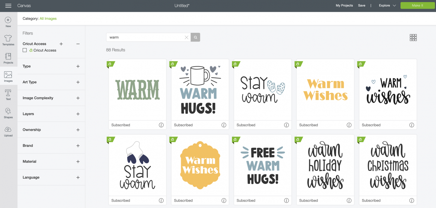 Cricut Design Space: other options for images to put on DIY Hand warmers