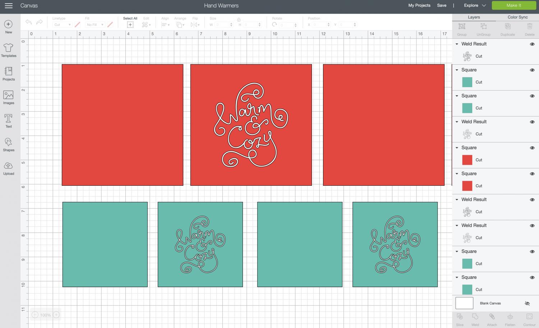 Cricut Design Space: Open DIY Hand Warmers File in Cricut Design Space