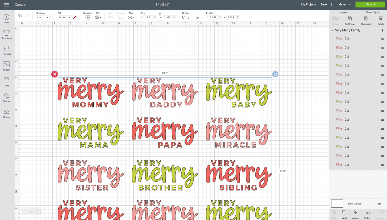 Cricut Design Space: Uploaded Very Merry SVG