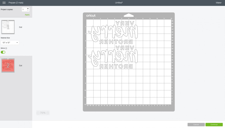 Cricut Design Space: Prepare screen with mirrored mats