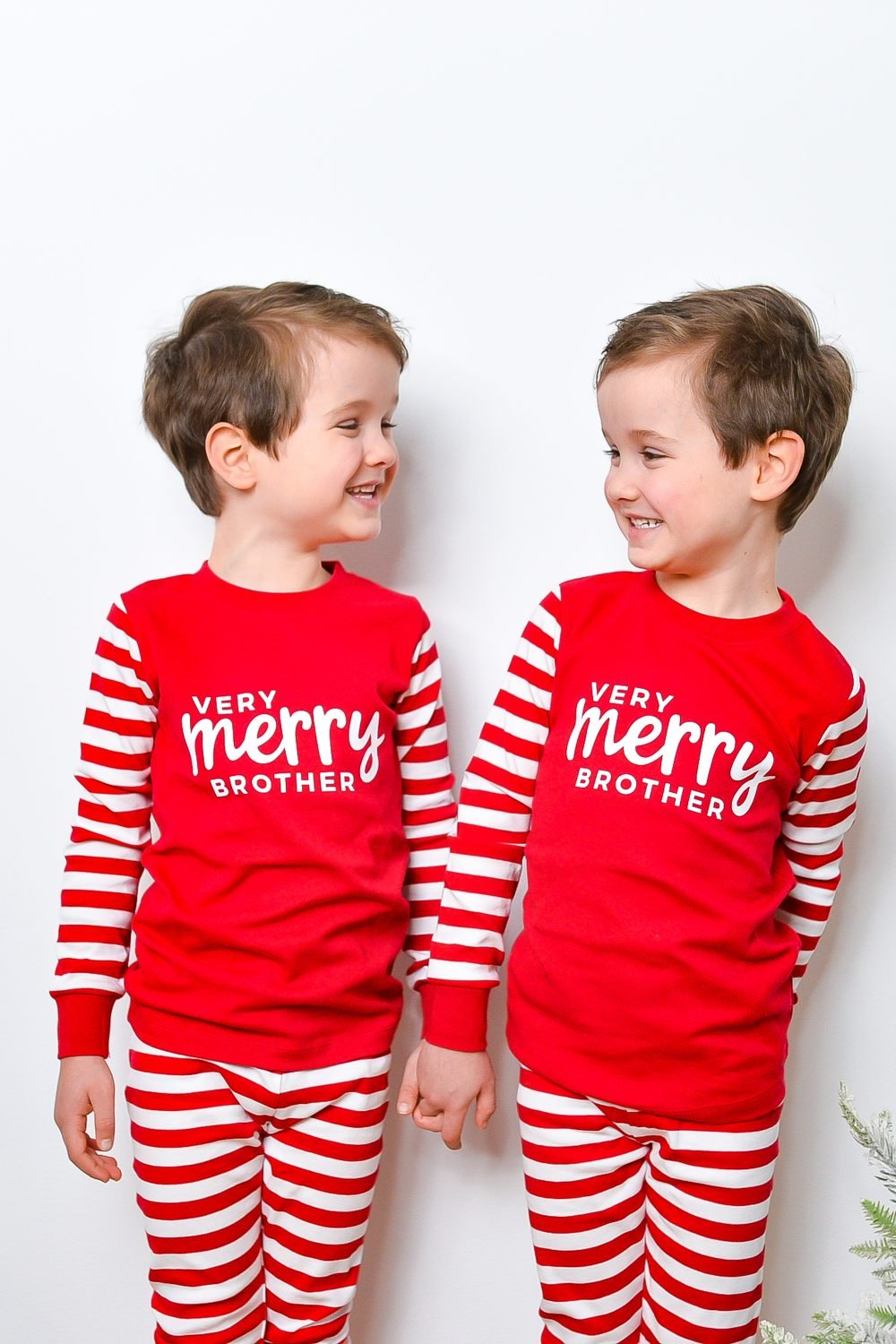 Boys wearing Very Merry Brother jammies