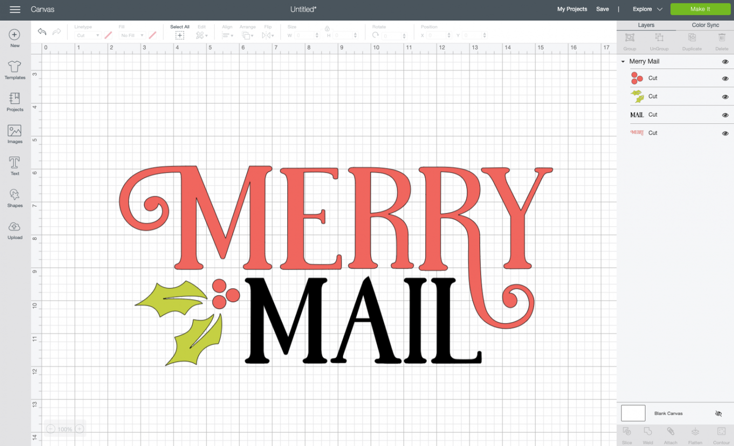 Cricut Design Space: Uploaded Merry Mail file