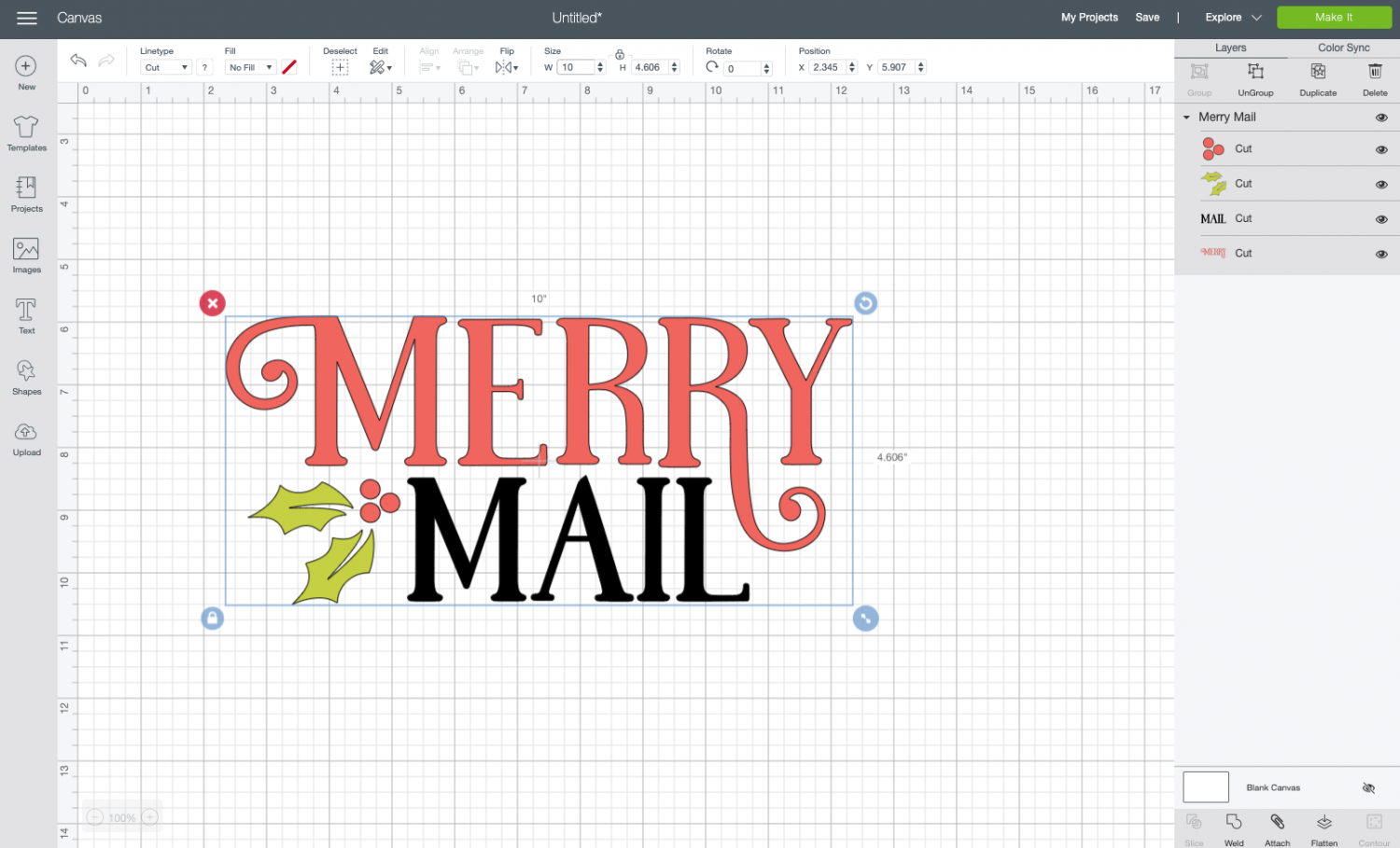 Cricut Design Space: resized Merry Mail file.