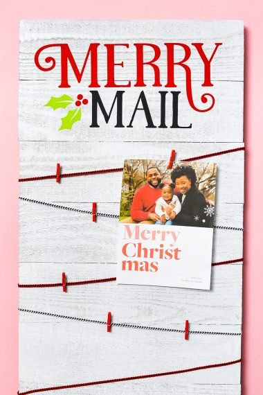 Finished Merry Mail Christmas Card Display on pink background