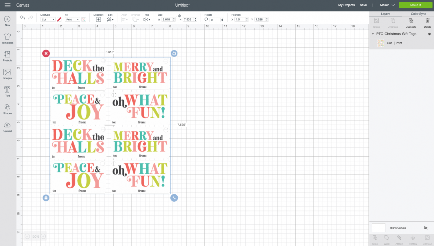 Cricut Design Space: image on canvas