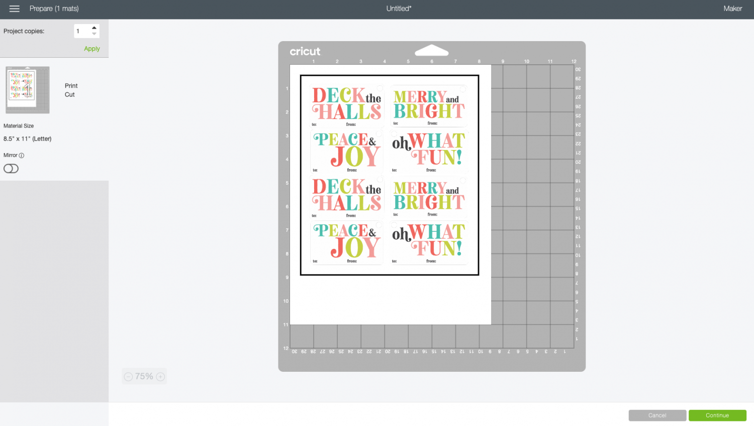 Cricut Design Space: Image on mat