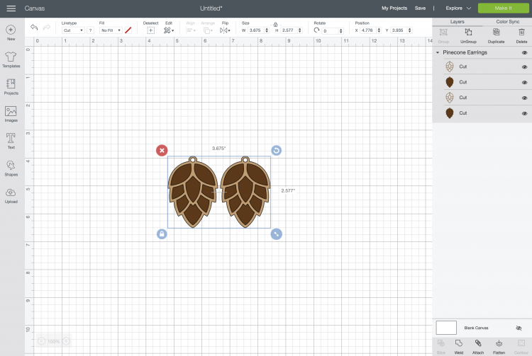 Uploaded pinecone earrings file on Cricut Design Space canvas.