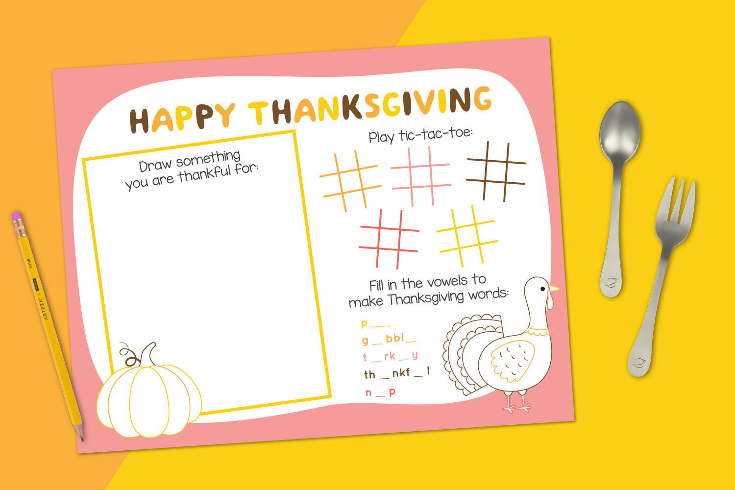 Printable Thanksgiving Placemat mockup