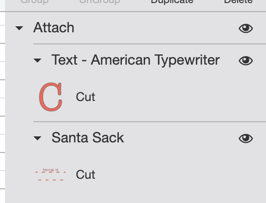 "Cricut Design Space: Attach name to ""deliver to"" layer"