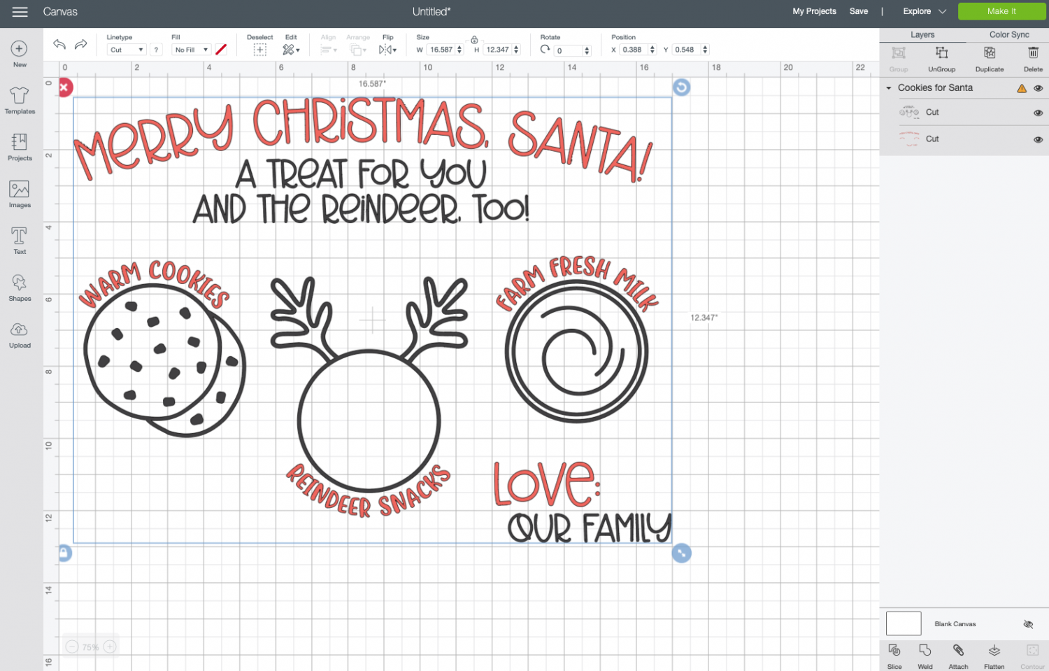 Design Space: Uploaded Santa Tray file