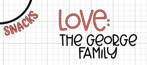 "Cricut Design Space: ""the George Family"" name added to the tray."