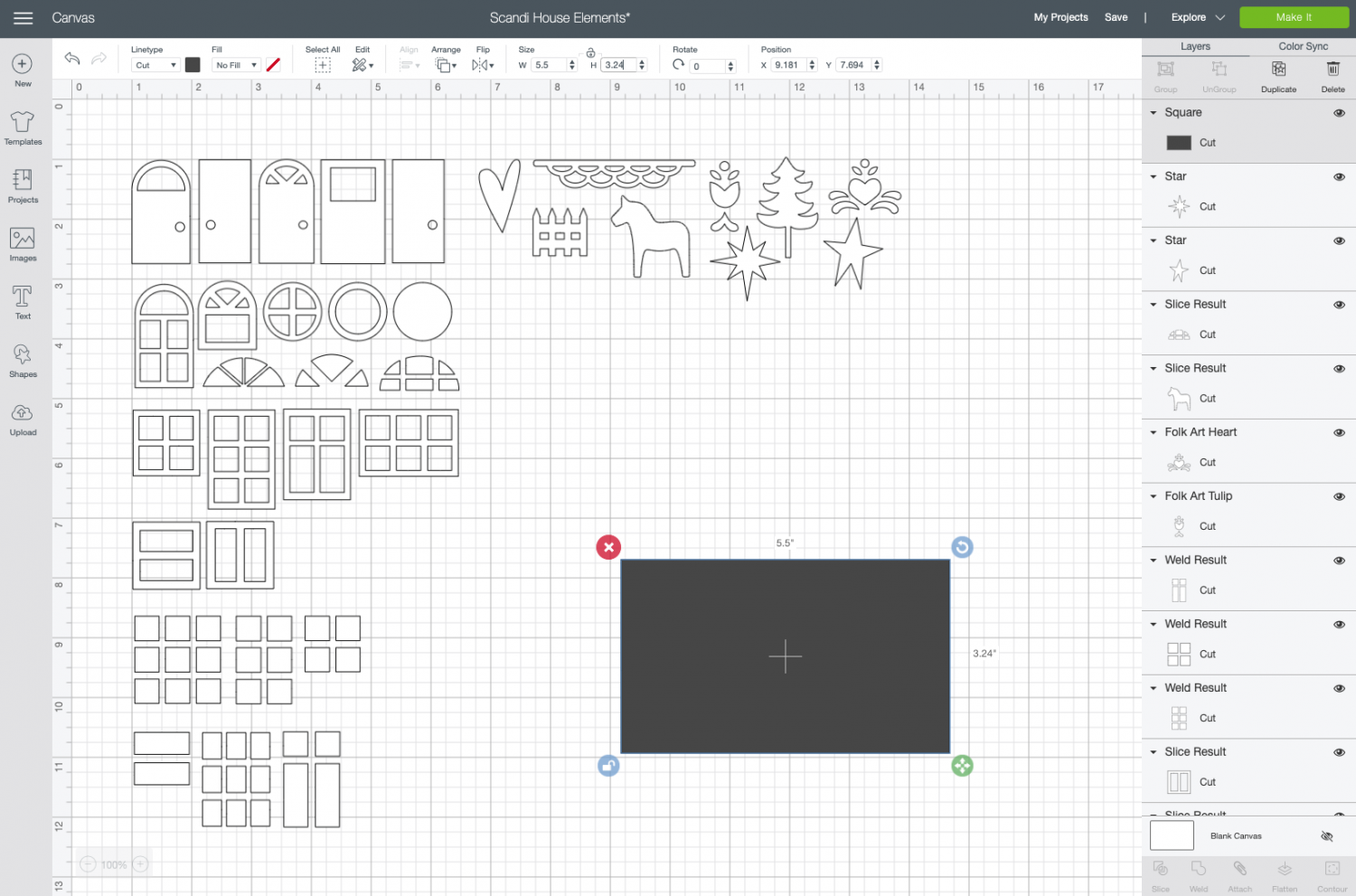 Cricut Design Space: insert and resize square