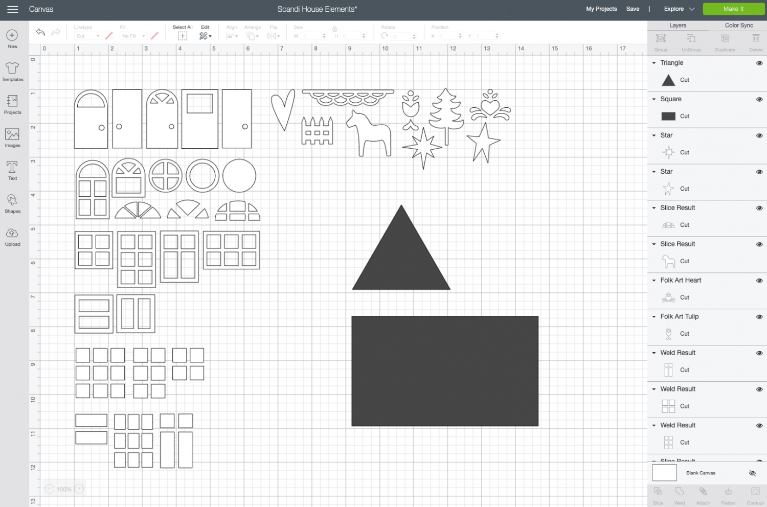 Cricut Design Space: insert and resize triangle
