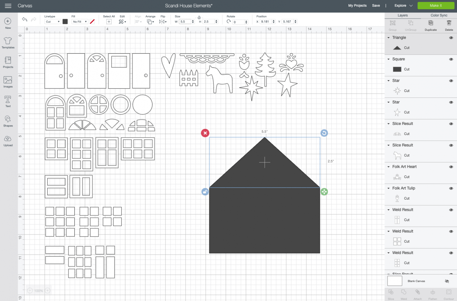 Cricut Design Space: move triangle to the top of the rectangle