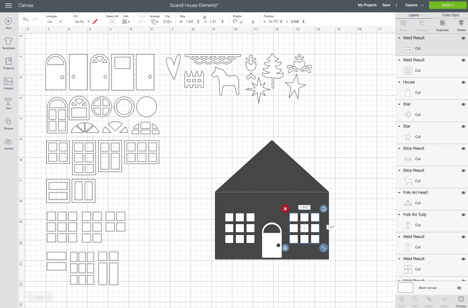 Cricut Design Space: Add elements to the house template