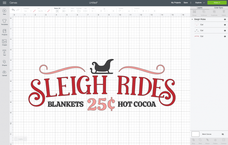 Cricut Design Space: Sleigh Rides file uploaded to Canvas