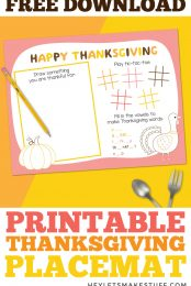 Printable Thanksgiving Placemat Pin Image