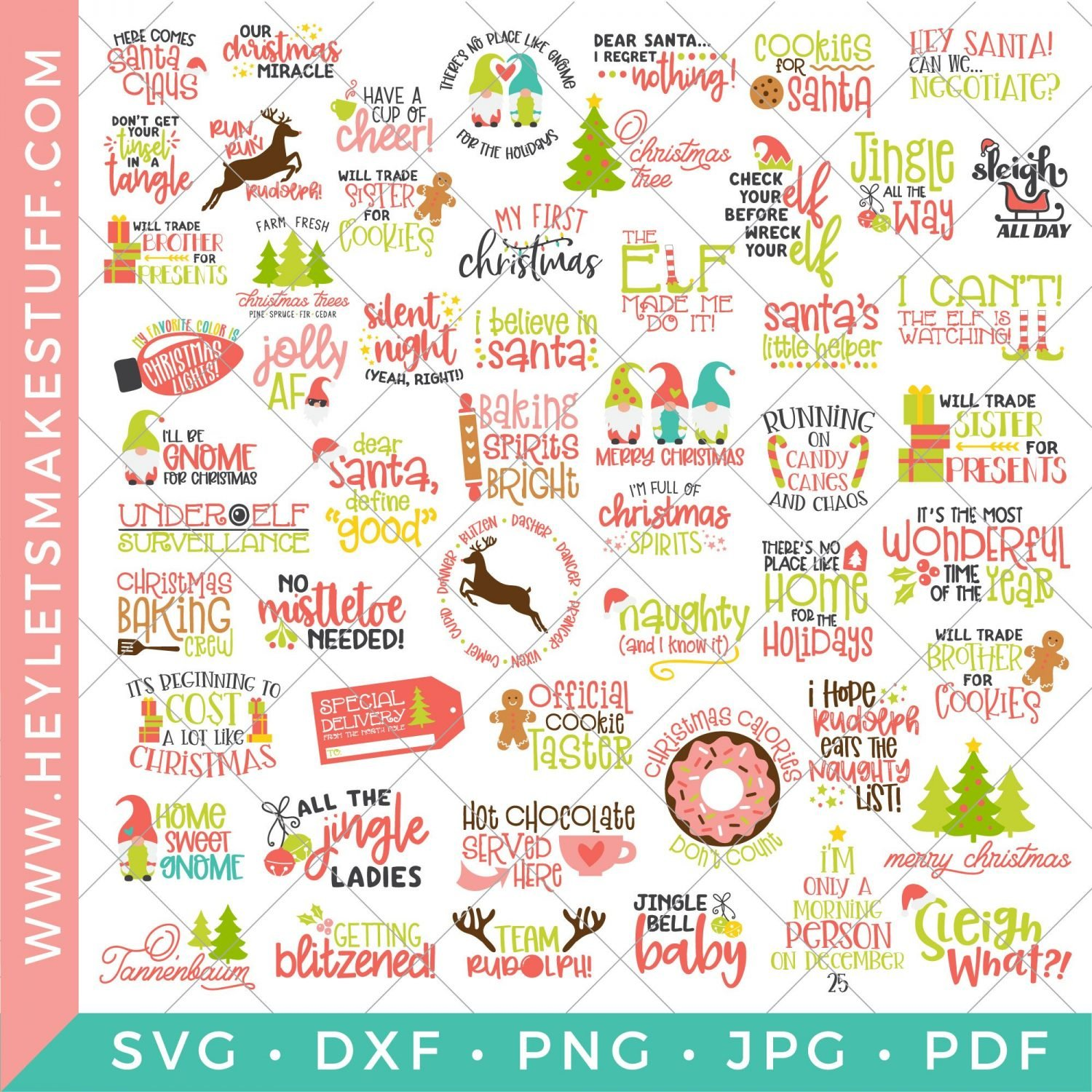 All of the SVGs included in the BIG Christmas SVG Bundle