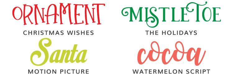 Christmas Fonts - Christmas Wishes, The Holidays, Motion Picture, Watermelon Script