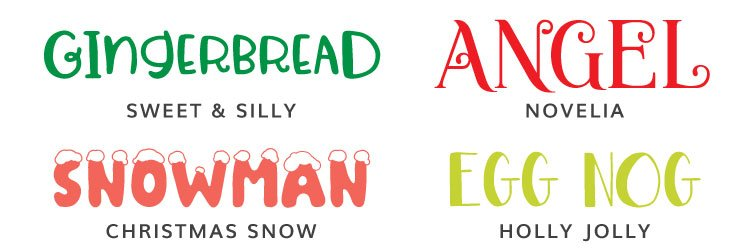Christmas Fonts - Sweet & Silly, Novelia, Christmas Snow, Holly Jolly