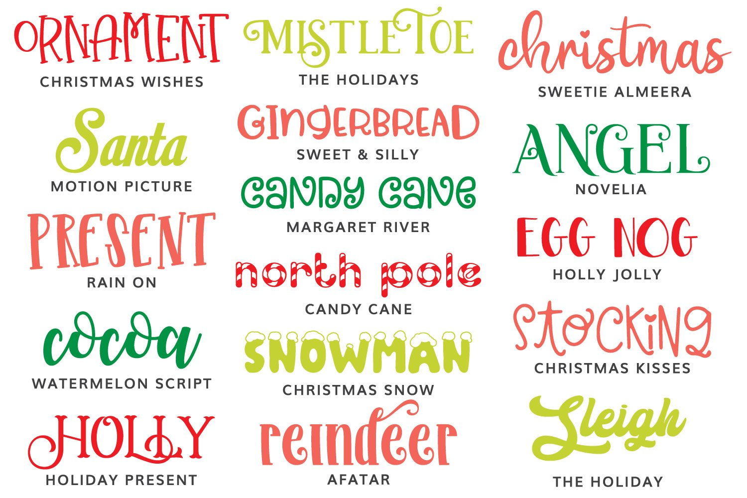 Image of Christmas fonts featured in this post