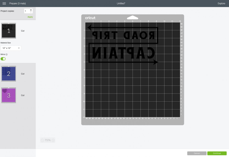 Cricut Design Space: Images on Cricut mat, mirrored