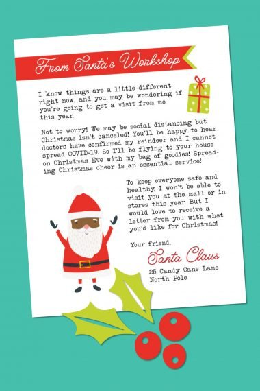 Letter from Santa on a teal background
