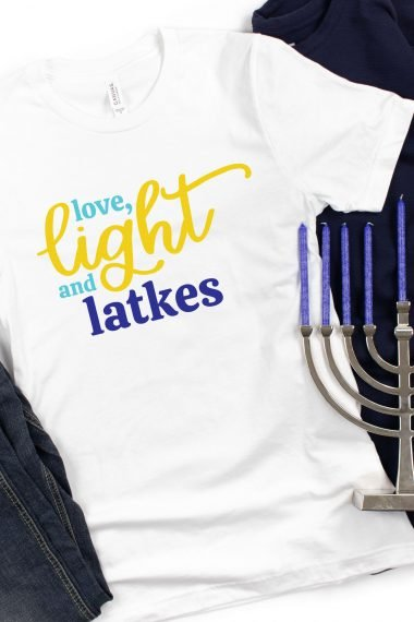 Love Light and Latkes on a T-shirt