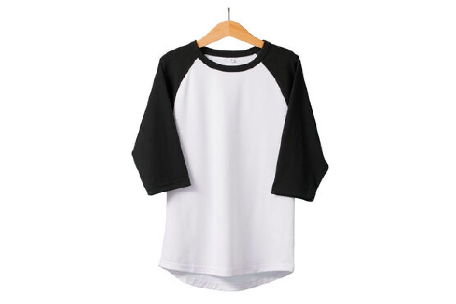Raglan with white body and black sleeves