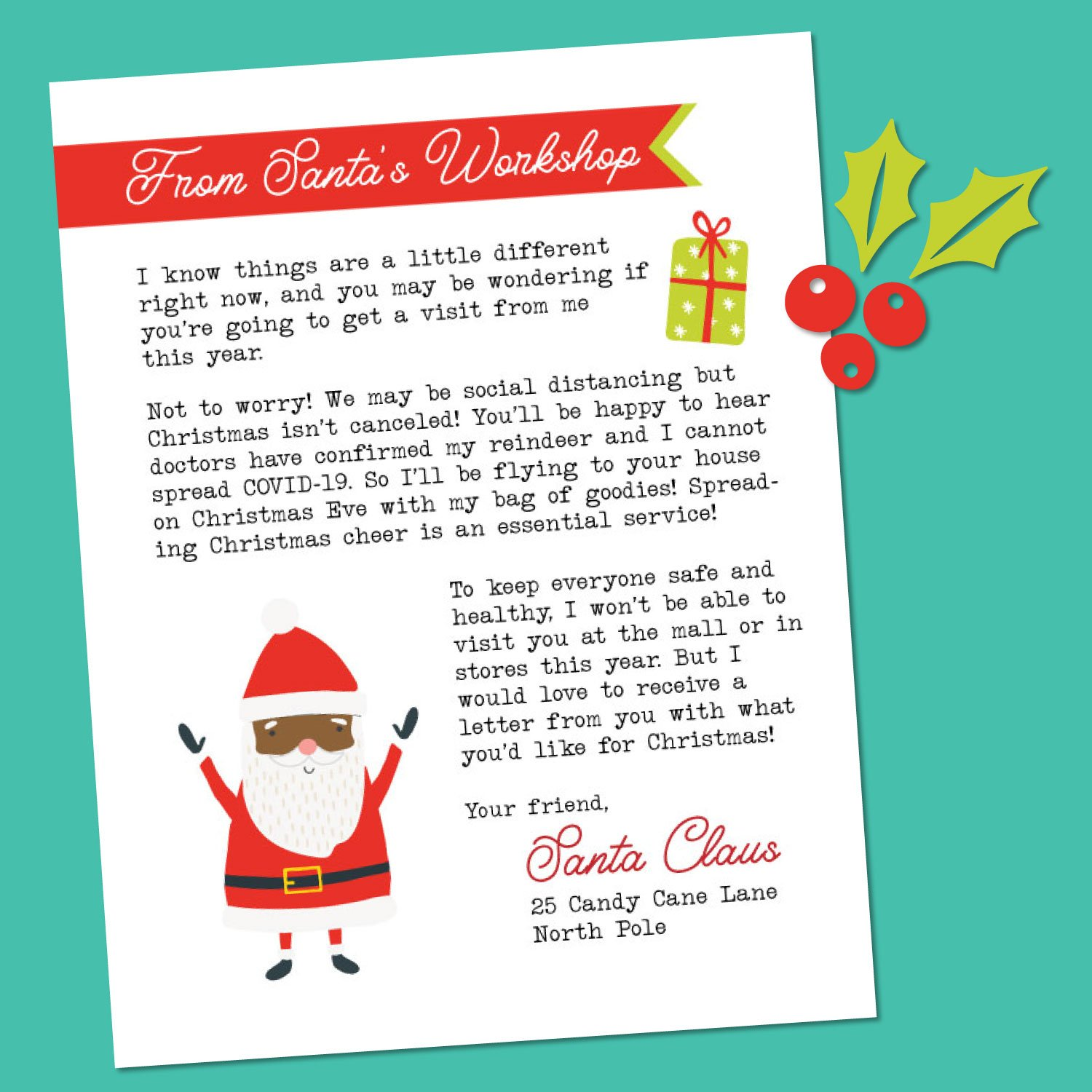 Free Printable Letter From Santa During Covid 19 Hey Let S Make Stuff