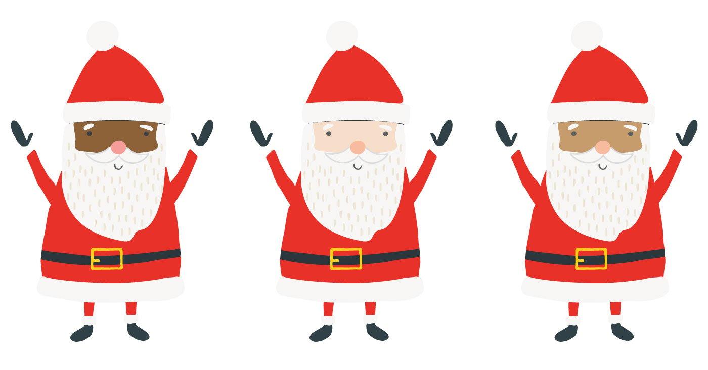 Three Santas with Various Skin Tones: Black Santa, White Santa, Brown Santa