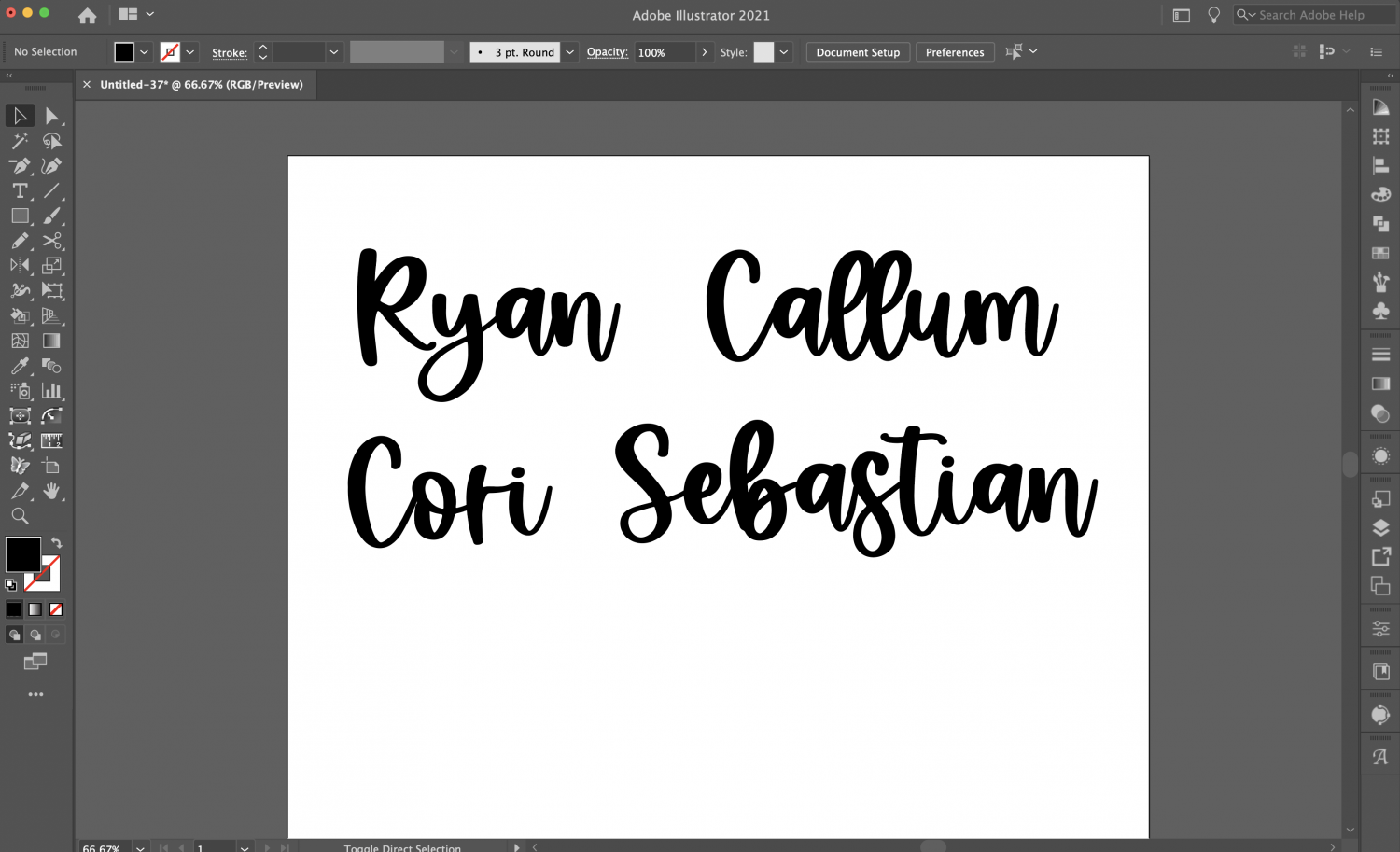 Four names on AI canvas, in festive font and resized.